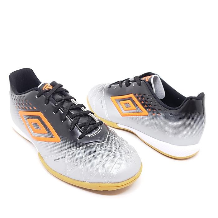 Tênis Futsal Umbro Fifty Pró – Cinza Preto Laranja – Schvambach Calçados f3f954e34d06d